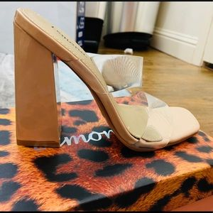 Fashion Nova Nude & Clear Heels Size 5.5